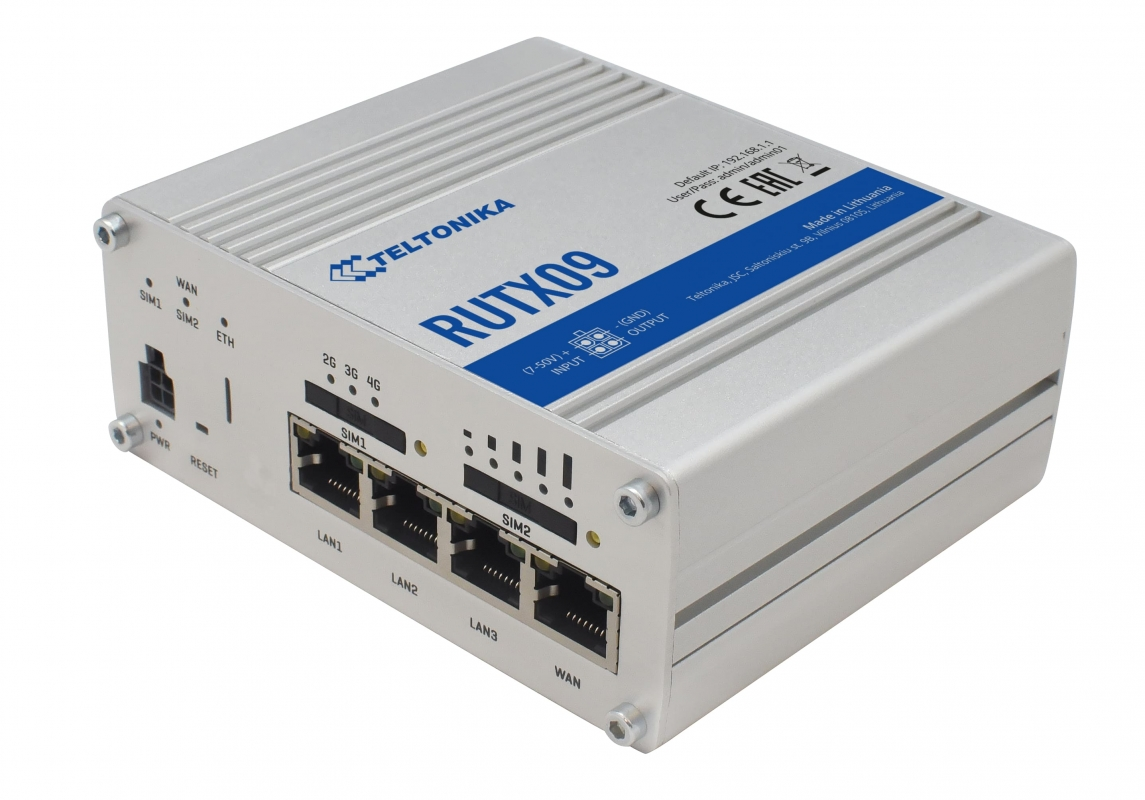 TELTONIKA LTE-A Cat6 cellular IoT Dual SIM Router, EU type (RUTX09)